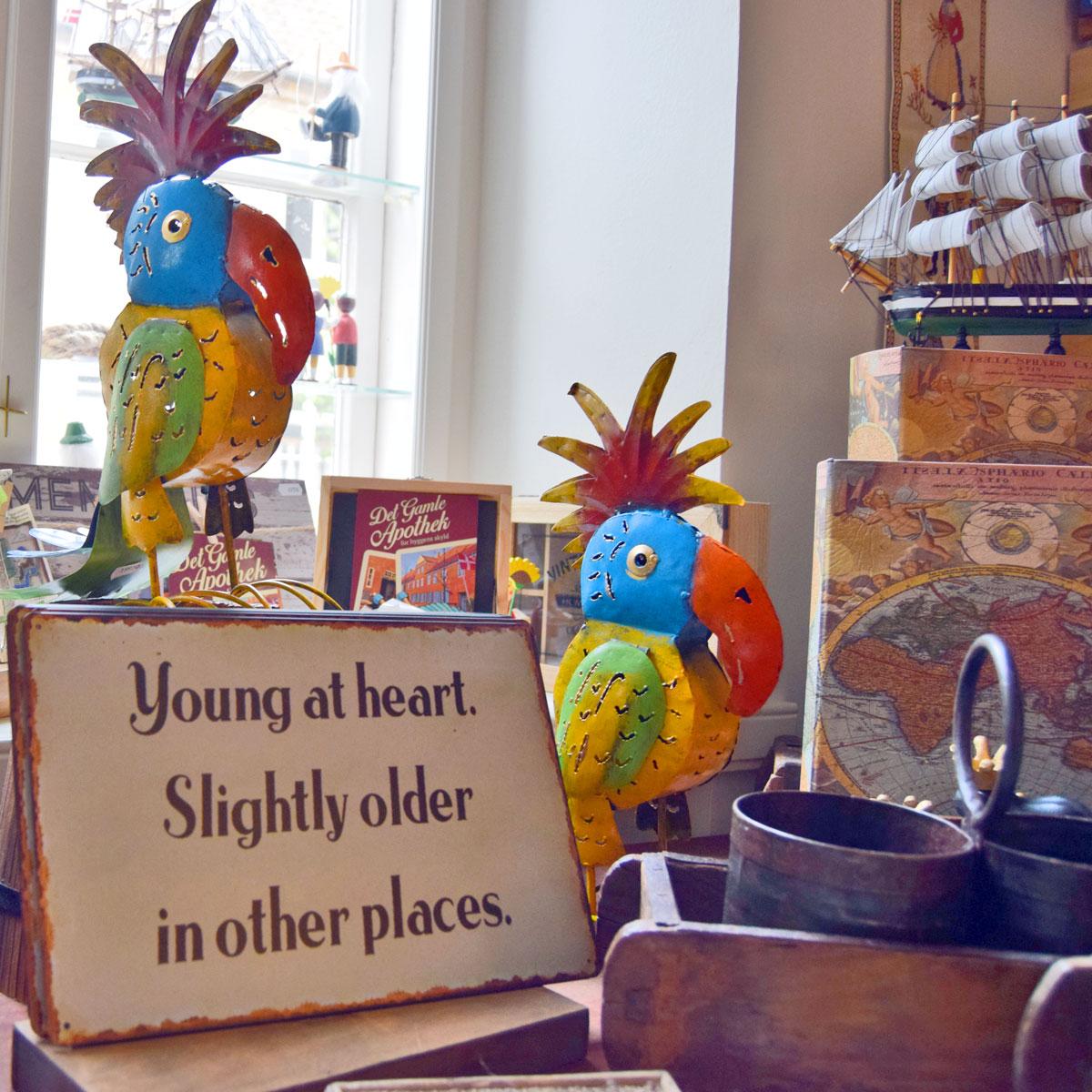 sjove farvestrålende papegøjer af metal